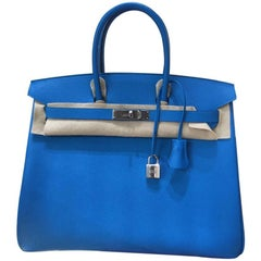 NEW 2017 Hermes Birkin 35, Blue Zanzibar, Epsom Leather - Palladium Hardware