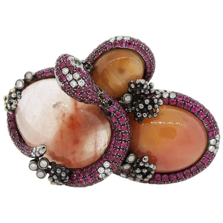 Orange Quartz Pink Sapphire Diamond Snake Ring For Sale