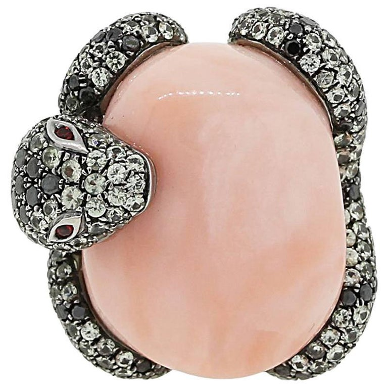 Angel Skin Coral Diamond Ruby Snake Ring For Sale