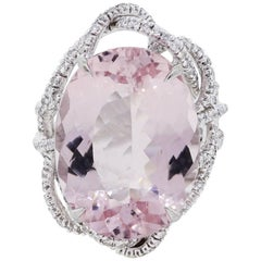 Oval Kunzite Diamond Cocktail Ring