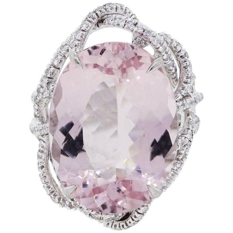 Oval Kunzite Diamond Cocktail Ring