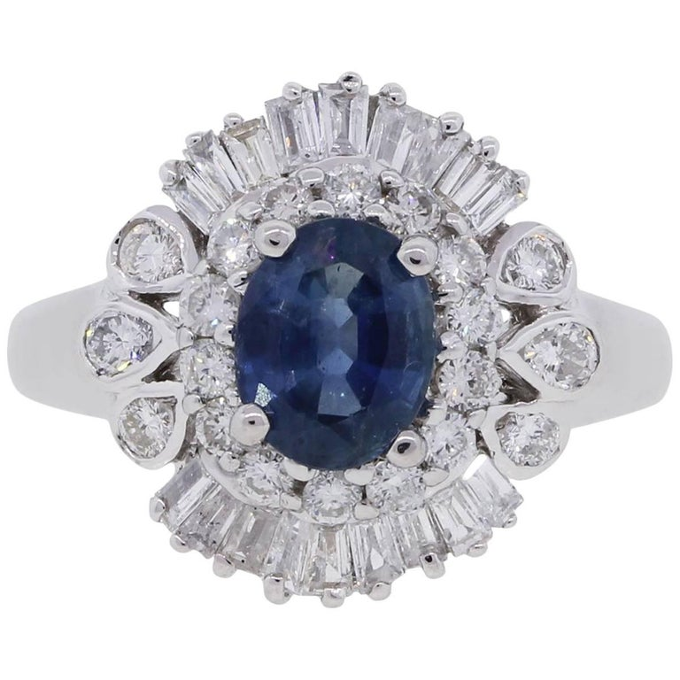 Sapphire Diamond Ballerina Ring
