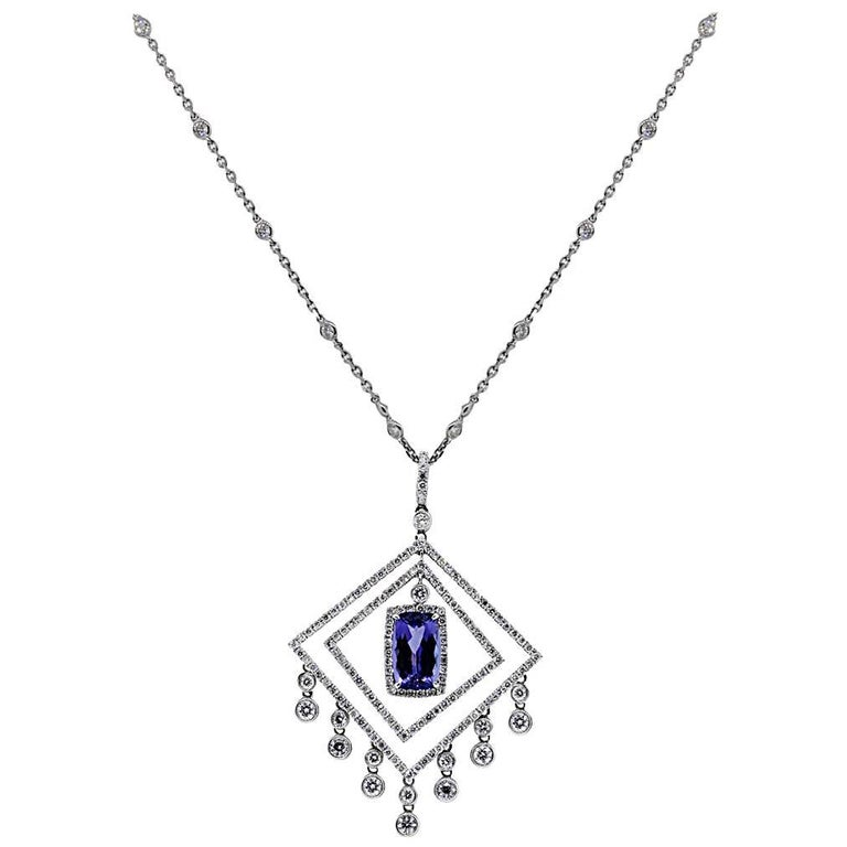 8 Carat Tanzanite Diamond Necklace