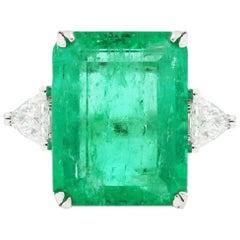 14 Carat Emerald Cut Emerald Diamond Ring