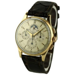 Universal Geneve Red Gold Rare Tri Compax Chronograph Moonphase Wristwatch