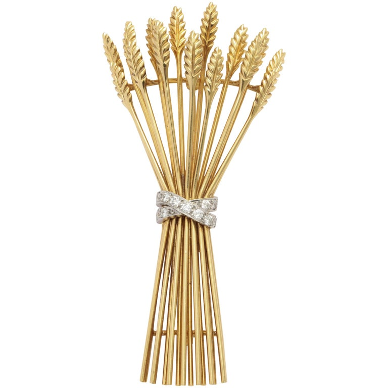 Tiffany & Co. Gold and Diamond Sheaf Pin For Sale