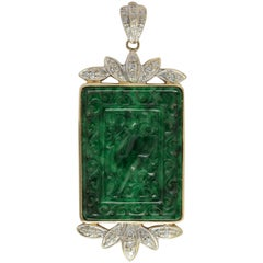 Modern Carved Chinese Jadeite and Diamond Pendant