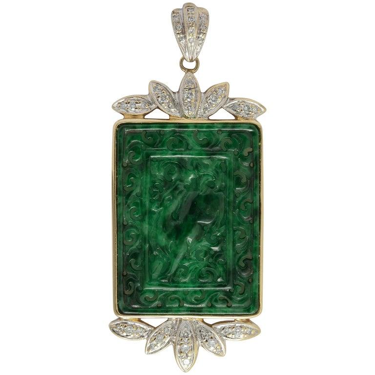 Modern Carved Chinese Jadeite and Diamond Pendant