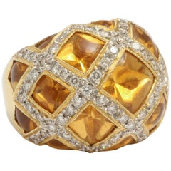 Citrine and Diamond Criss Cross Ring