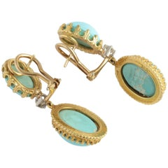 Cellini Gold Diamond and Turquoise Drop Earrings
