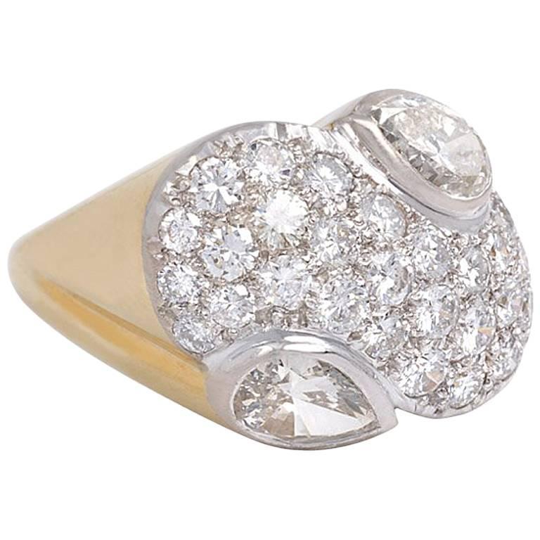 1940s René Boivin Diamond Plaque Ring