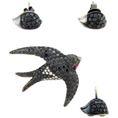Diamond 18 Karat Black Rhodium Gold Earrings Brooch Pendent Set by De Grisogono