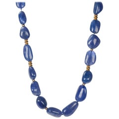 Tanzanite Necklace with 18 Karat Yellow Gold Rondelles