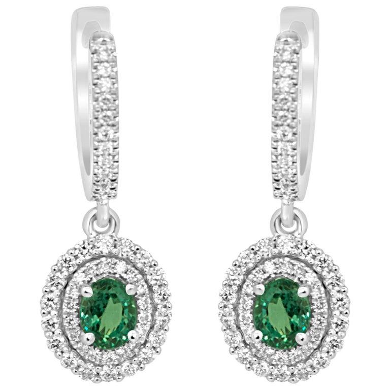 Alexandrite Diamond Double Halo Gold Dangle Earring
