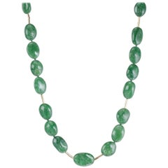 Tsavorite Necklace with 18 Karat Yellow Gold Accents