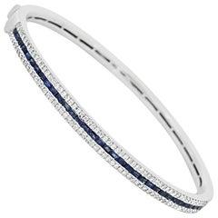 Blue Sapphire Diamond Gold Bangle Bracelet