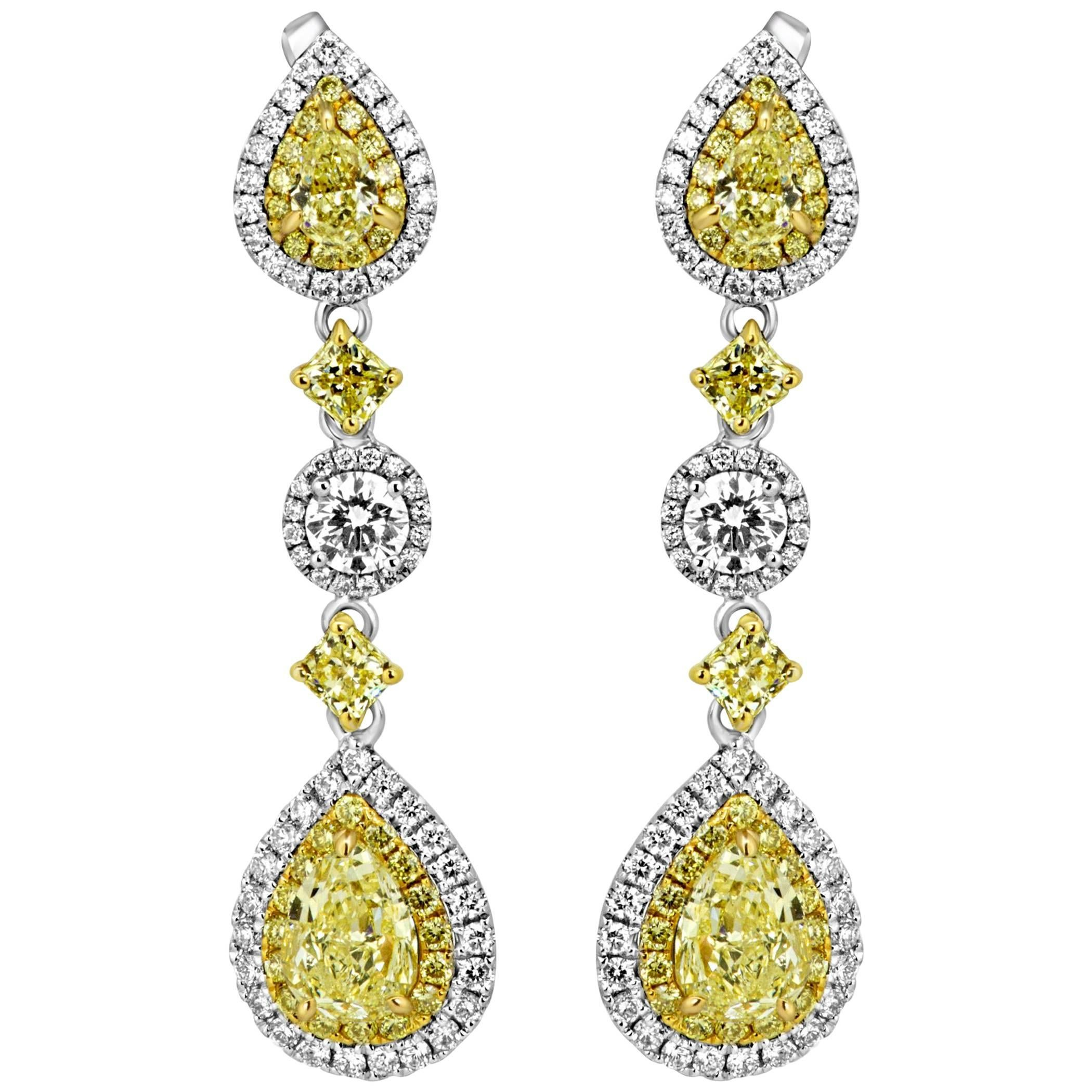 Natural Fancy Yellow Diamond Double Halo Two Color Gold Dangle Earring