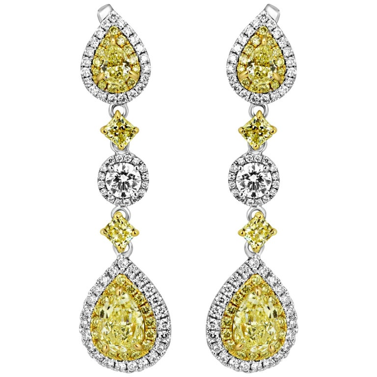 Natural Fancy Yellow Diamond Double Halo Two Color Gold Dangle Earring For Sale