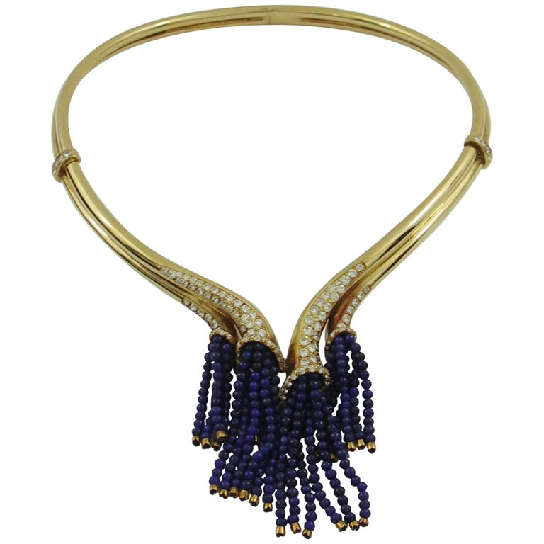 Gold Necklace with Diamonds and Lapis Bead Tassels For Sale