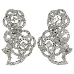 Chanel Double Camelia Diamond White Gold Earrings