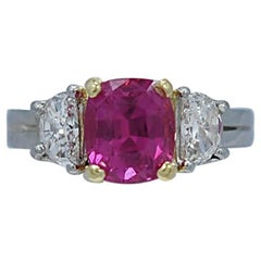 3.00 Carat Pink Sapphire Diamond Platinum Engagement Ring
