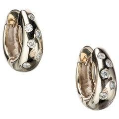 Diamond Huggie Earrings in 14 Karat Yellow Gold