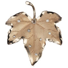 Leaf Brooch with Diamonds in 14 Karat Yellow Gold