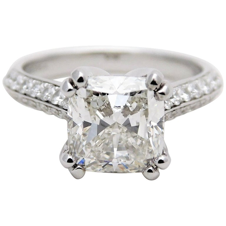 GIA Certified 3 28 Carat Cushion Cut Diamond Engagement Ring For Sale at 1stdibs
