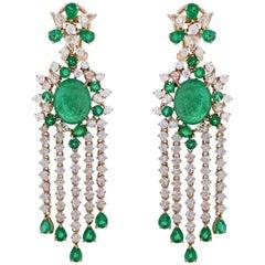 Emerald Diamond Chandelier Earring