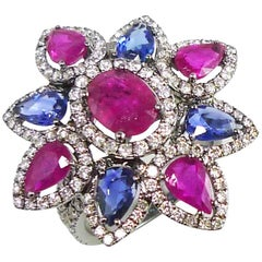 Blue Sapphire Ruby Diamond Flower Cocktail Ring