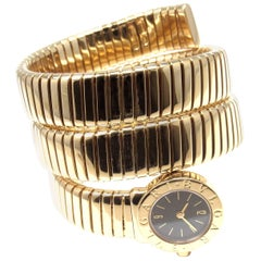 Bulgari Ladies Yellow Gold Tubogas Serpent Snake Bracelet Wristwatch