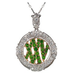 Demantoid Garnet Twenty Five Roman Numeral Diamond Platinum Gold Pendant