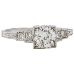 Vintage Style Engagement Ring Platinum 0.85 Carat Round Brilliant D-SI1
