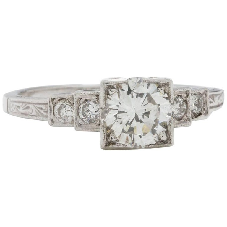 Platinum Engagement Rings Sale Uk: Vintage Style Engagement Ring Platinum 0.85 Carat Round