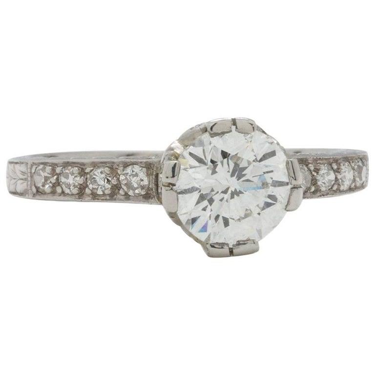 Vintage Style Diamond Engagement Ring Platinum 0.86 Carat Round Brilliant G-SI1