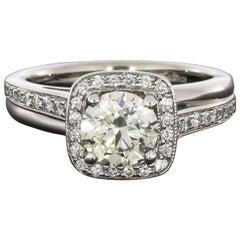 Round Brilliant Diamond Bypass Halo White Gold Engagement Ring
