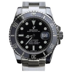 Rolex Stainless Steel Submariner Black Dial and Bezel Automatic Wristwatch