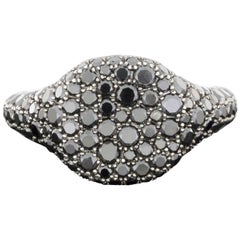 David Yurman Petite Pave Black Diamond White Gold Pinky Ring