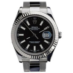 Rolex Stainless Steel Oyster Datejust II Black Dial White Gold Bezel Wristwatch