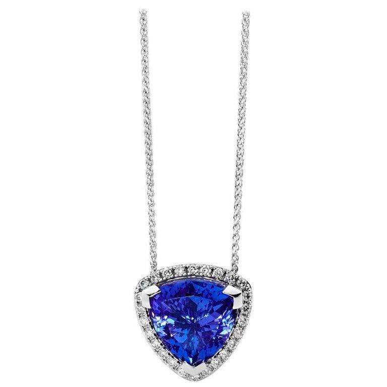 6.86ct Trilliant Tanzanite and Diamonds Pendant