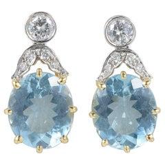 Art Deco 13.00 Carat Natural Aquamarine 1.05 Carat Diamond Drop Earrings