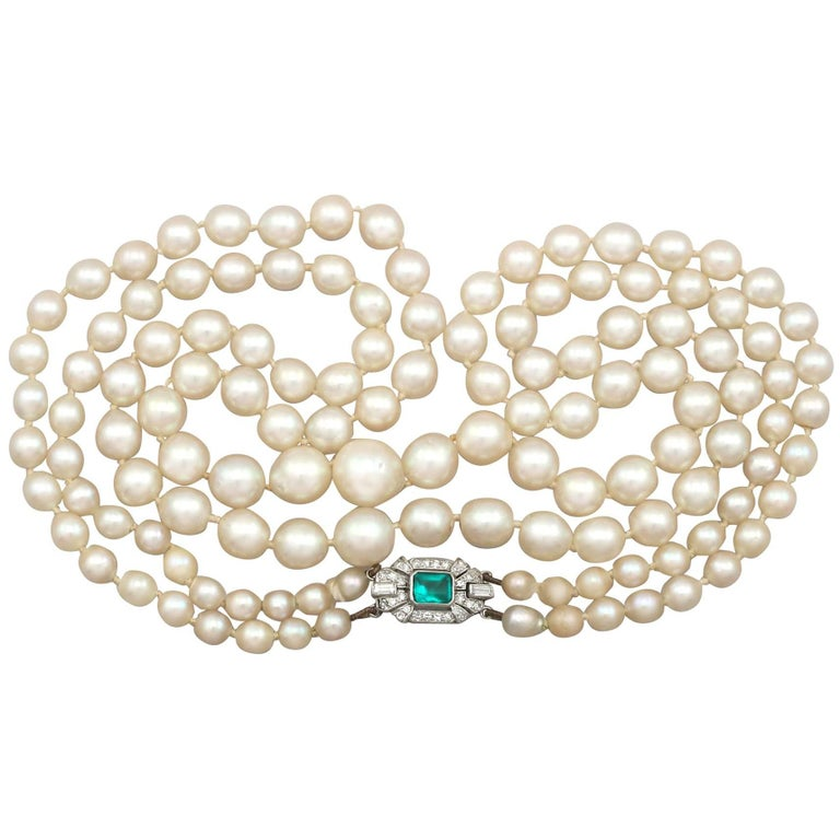Double Strand Pearl Necklace with White Gold and Diamond Clasp