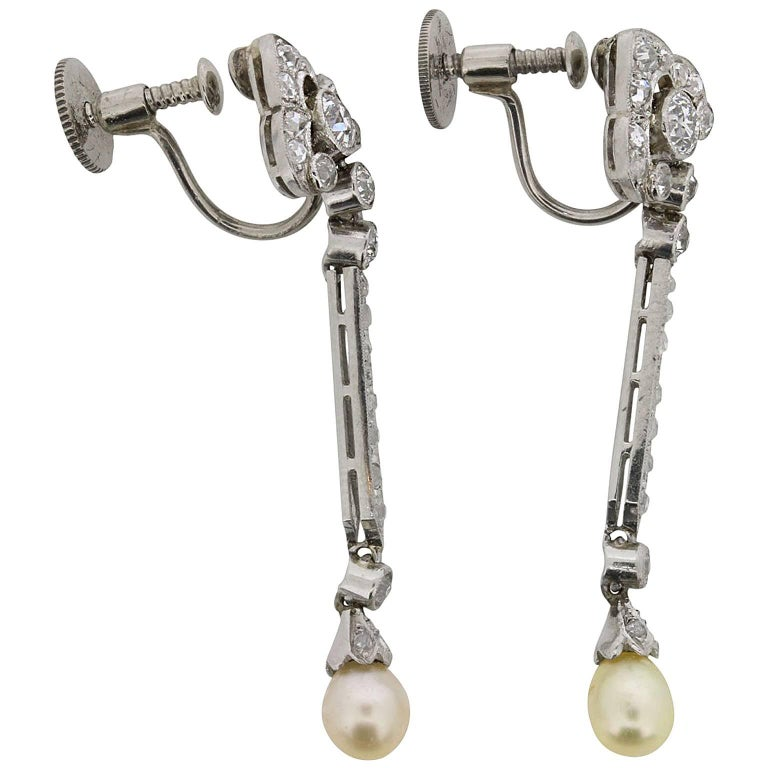 Art Deco Diamond and Pearl Drop Earrings, circa 1920s