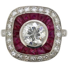 Vintage Diamond and Ruby Cluster Ring, circa 1950s