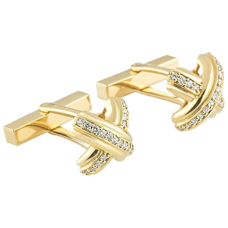 Tiffany & Co. Schlumberger Yellow Gold Diamond Cufflinks 1