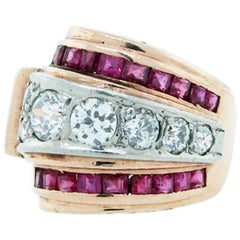 Bold Retro Ruby and Diamond Ring Made by Marlin N.Y.