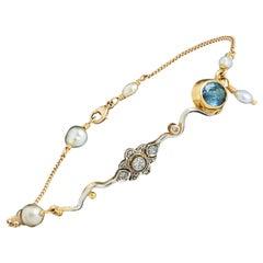 Bergsoe Vintage White Gold Yellow Gold Diamond Sapphire Pearl Bracelet