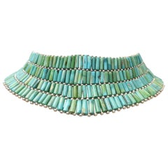 Beaded Turquoise Choker with Sterling Silver