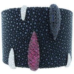 Stingray Diamond and Ruby Cuff Bracelet