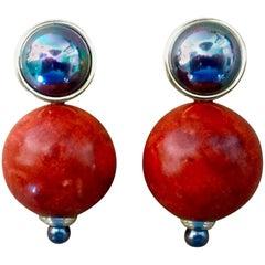 Michael Kneebone Fossil Coral Mother-of-Pearl Black Pearl Drop Earrings
